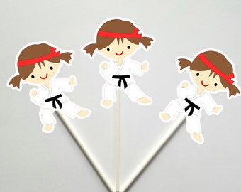Karate Cupcake Toppers, Karate Kid Cupcake Toppers, Karate Girls