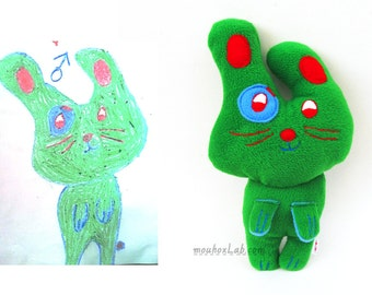 Custom made stuffed animal plushie bunny from drawing Memory gift Personalized softie Unique gift idea - MADE TO ORDER