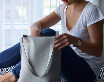 Everyday GREY LEATHER Tote Bag Pebbled Leather Laptop Bag Italian Grey Leather Tote - MADRID -