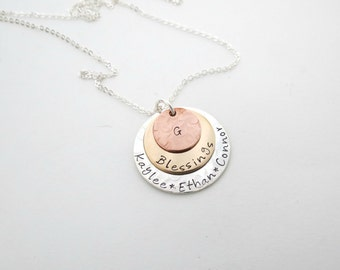 Personalized Family Necklace - Custom Mothers Jewelry - Grandma Necklace - Son - Daughter - Grandkids - Personalized Jewelry - Kids Names