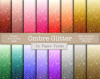 Ombre glitter digital paper, Ombre digital paper, rainbow ombre, gold, silver, scrapbook paper, backgrounds, commercial use, download