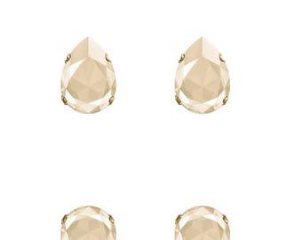 Swarovski Crystal Ivory Cream Beige Mini Ivy Stud Earrings Gold Plated Womens Girls   14x10 Drop