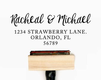 Custom Return Address Pre-Designed Rubber Stamp - Branding, Packaging, Invitations, Party, Wedding Favors - A010