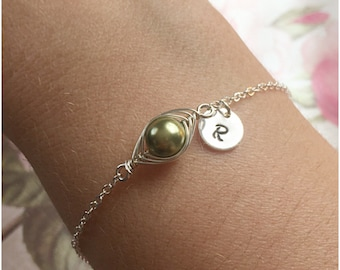 One Pea in a Pod Silver Bracelet - Children's Initials - Customized Pearl Bracelet - Personalized Hand Stamped Initial - Pea Pod Bracelet