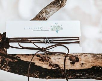 Heartbeat arrow choker necklace // convertible wrap bracelet // long lariat necklace // bohemian wrap festival style choker// vegan friendly