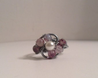 Fluorite Wire Wrapped Spiral Ring