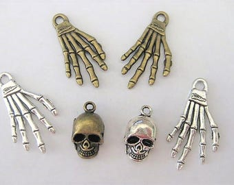 Jewelry Supplies - Skull  Hand  Bones  Charms  Pendant  Goth  Halloween   6 pc    (Grp22)