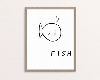 Fish Nursery Art, printable Black and White Nursery Art, Downloadable Print, Wall Print, Nursery Print, Printable Art, Nursery Decor