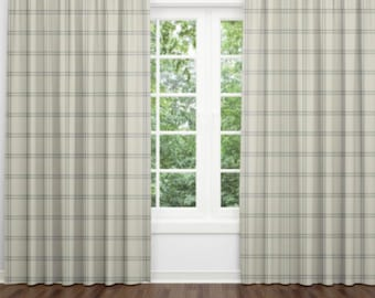 chair tartan under room cute living red curtains gray check and blackout grey tan blue windows