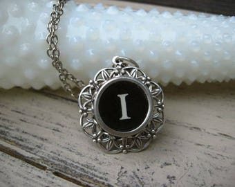 Typewriter Key Jewelry - Letter I Necklace