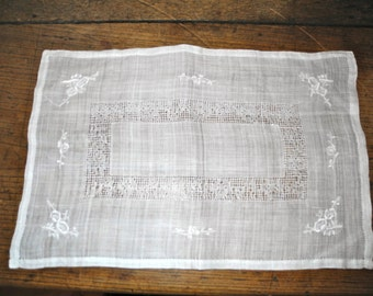 White Square Linen Doily