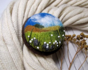 Floral jewelry for daughter Mother gifts Natural look wool jewelry Needle felted brooch Original art