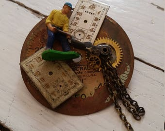 Vintage Watch Part SteamPunk Pin