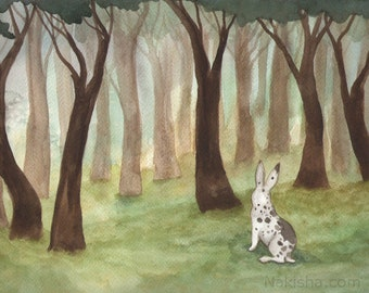RESERVED for LS - Original Art -  September Woods- Watercolor Rabbit Painting