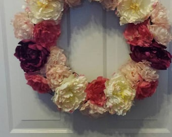 Spring wreath / summer wreath / front door wreath / door wreath / peony wreath /  flower wreath / holiday wreath