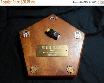 Spring Sale Original Major General Roland M GLESZER Award Plaque from the Pentagon
