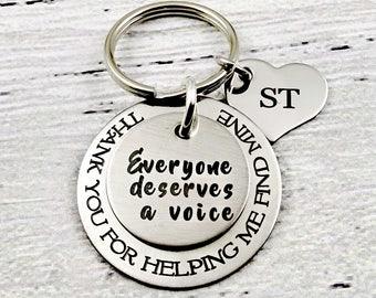 Speech Therapist Gift Keychain, Everyone Deserves a Voice Keychain, Speech Therapy Graduation, Speech Language Pathologist, Therapist Gift