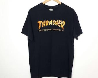 Rare!! THRASHER T-shirt Medium Size 1st Issue Magazine Back Print Skateboard Retro Classic Magazine 4aKfEhM