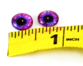 10mm Pink and Blue Glass Eye Cabochons - Evil Eyes for Doll or Jewelry Making - Set of 2