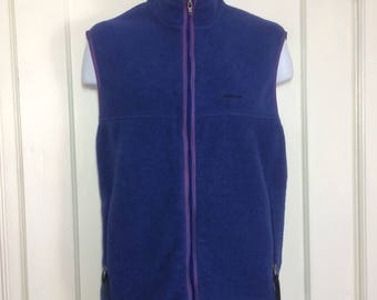 Vintage Patagonia Synchilla fleece zip-up vest size large purple blue lavender made in USA