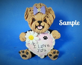 Yorkie Yorkshire Terrier Tan and Black with Bow I LOVE YOU heart sculpture Polymer Clay art by Sallys Bits of Clay