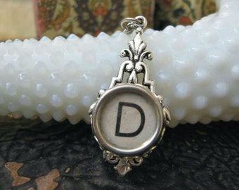 Typewriter Key Jewelry - Typewriter Necklace - Letter D - Typewriter Charm - Vintage Key