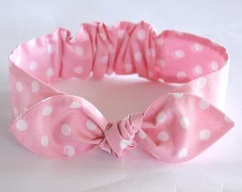 """Baby Bow Headband, Baby Girl Headband, baby knot headband, pink polkadot, newborn, topknot headband, """"Abbie"""", retro baby headband"""