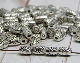 50 or 100pcs - 5x7mm - Spacer Beads - Metal Beads - Silver Spacers - Antique Silver - Barrel Beads - Large Hole Spacers - (4145)