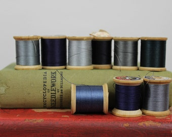 Vintage Wooden Spools of Thread in Hues of Blacks Blues and Grays Coats & Clark's Mercerized Sewing O.N.T Our New Thread 1960s Boilfast