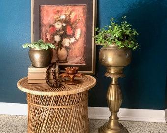 vintage large brass pedestal planter tall egg and dart