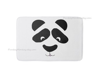 Visage de Panda bear tapis panda tapis salle de bain tapis chambre tapis peluche mousse tapis tapis de bain bain tapis tapis noir et blanc kawaii panda tapis 3 tailles de mémoire