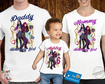 Descendants Birthday Family shirts,Descendants Customize and Personalize Shirt,E041