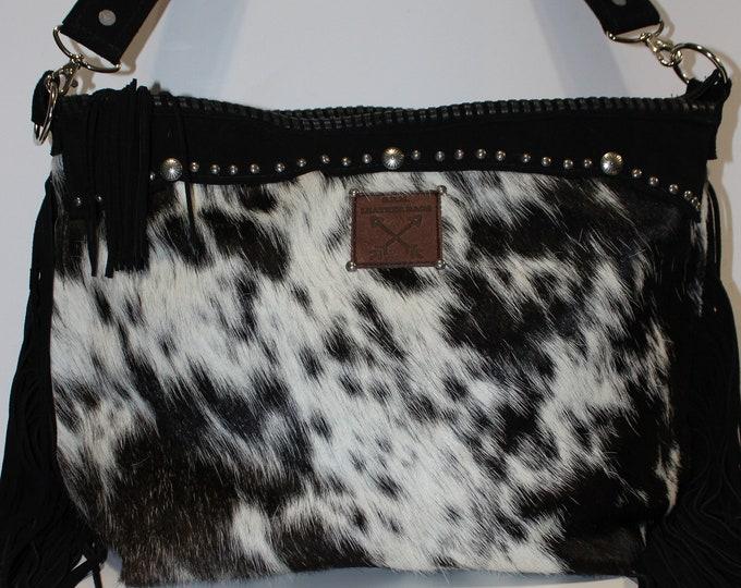 Cowhide Shoulder bag with black leather