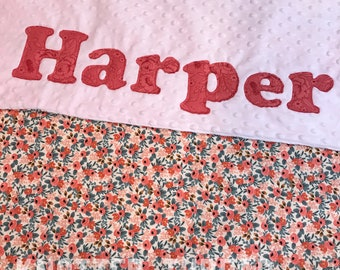 Rosa in Peach Floral - Personalized Name Blanket - Baby shower - Baby gift - newborn