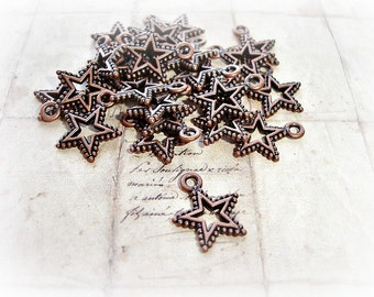 10 Antique Copper Star Charms