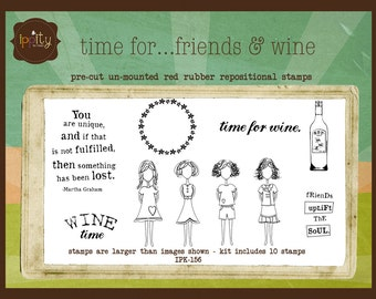 Clearance - Unity -  Ippity Stamp Set - Time for..friends & wine