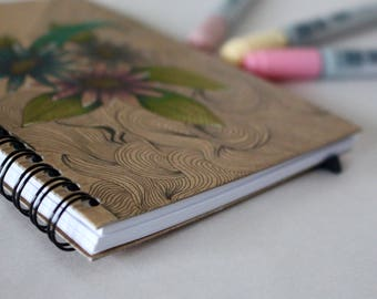 Hand painted A6 Notebook. Hand painted flowers. Kraft cover notebook. Lined pages notepad.
