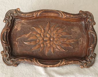 Ornate brown tray