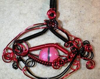 Dragon Eye pendant, dragon, dragon eye necklace, Steampunk Dragons Eye necklace, Wire wrapped pendant, red eye, Gothic Dragon