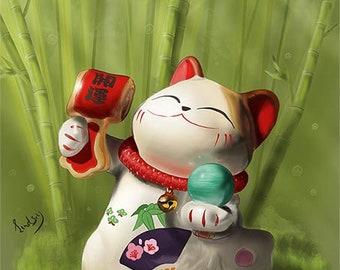 Digital painting download, maneki neko japanese luck cat