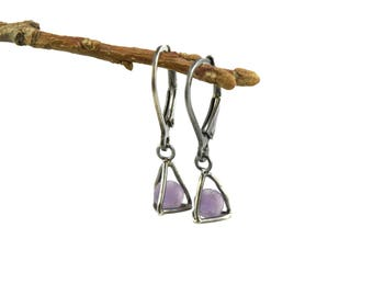 Grape Agate Earrings in Sterling Silver - Crystal Cage Earrings - Grape Chalcedony Earrings - Grape Agate Jewelry - Raw Gemstone Earrings
