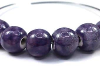 Purple: 10 (pc146) 10mm ceramic beads