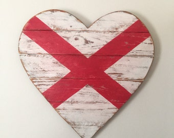 Alabama Flag - Wood Heart - Wall Decor