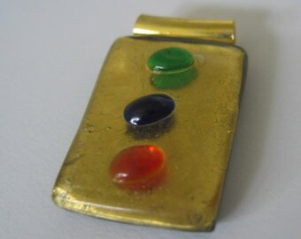 Set of 2 Glass Pendants Gold and Tricolor Spots