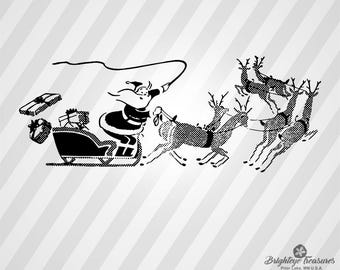Santa And Sleigh - Dxf Svg Ai Pdf Eps Rld RdWorks Png Jpg and Wmf Print Files, Digital Cut, Vector File, Svg File, Cricut Svg, Silhouette