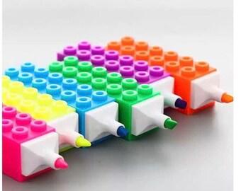 Lego Brick Stackable Highligher Pens