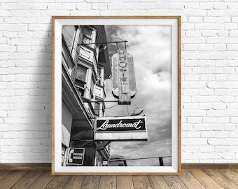 """black and white photography, large art, large wall art, instant download printable art, digital download, art print, gray - """"Laundromat"""""""