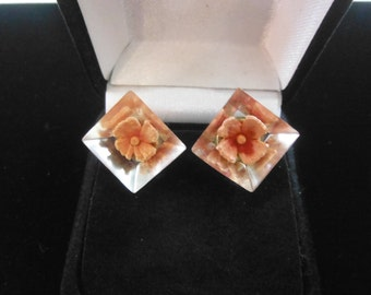 Clear Lucite Earrings With Flowers, 1940's