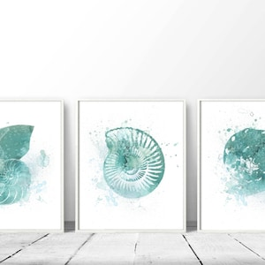 Set Of 3 Nautical, Prints Of Nautical, Turquoise Shells, DIY Wall Art,