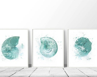 Good Set Of 3 Nautical, Prints Of Nautical, Turquoise Shells, DIY Wall Art,